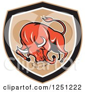 Clipart Of A Retro Red Angry Bull Charging In A Tan And Black Shield Royalty Free Vector Illustration