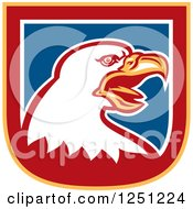 Clipart Of A Bald Eagle In Blue Yellow Red And White Shield Royalty Free Vector Illustration by patrimonio