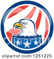 Clipart Of A Bald Eagle In An American Flag Circle Royalty Free Vector Illustration