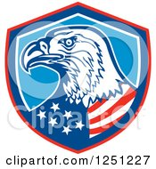 Clipart Of A Bald Eagle American Flag In A Shield Royalty Free Vector Illustration by patrimonio