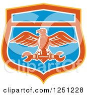 Clipart Of A Retro Eagle Flying With A Spanner Wrench In A Blue Red Orange And White Shield Royalty Free Vector Illustration