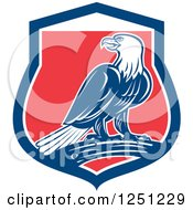 Clipart Of A Retro Bald Eagle In A Red White And Blue Shield Royalty Free Vector Illustration
