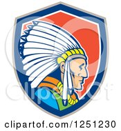 Clipart Of A Cartoon Native American Indian Chief In A Red White Gray And Blue Shield Royalty Free Vector Illustration