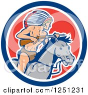 Clipart Of A Cartoon Native American Indian Chief With A Rifle On Horseback In A Circle Royalty Free Vector Illustration