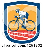 Clipart Of A Retro Cyclist Man In A Blue White Orange And Red Shield Royalty Free Vector Illustration