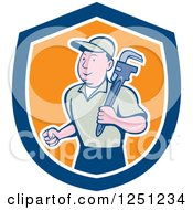 Clipart Of A Cartoon Male Plumber With A Monkey Wrench In A Blue White And Orange Shield Royalty Free Vector Illustration