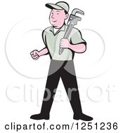 Clipart Of A Cartoon Male Plumber With A Monkey Wrench Royalty Free Vector Illustration