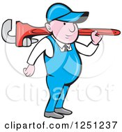 Cartoon Male Plumber Carrying A Giant Monkey Wrench On His Shoulder