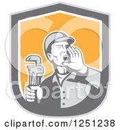 Clipart Of A Retro Male Plumber Holding A Monkey Wrench And Calling Out In A Shield Royalty Free Vector Illustration by patrimonio