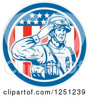 Clipart Of A Retro Saluting American Soldier Over An American Flag Circle Royalty Free Vector Illustration