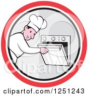 Clipart Of A Cartoon Male Chef Opening An Oven In A Circle Royalty Free Vector Illustration