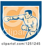 Retro Male Boxer Punching In A Blue White And Orange Shield