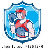 Clipart Of A Cartoon Male Boxer Posing In A Blue Shield Royalty Free Vector Illustration by patrimonio