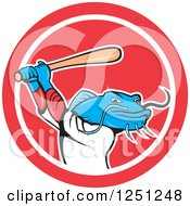 Clipart Of A Cartoon Blue Catfish Baseball Player Batting In A Circle Royalty Free Vector Illustration by patrimonio