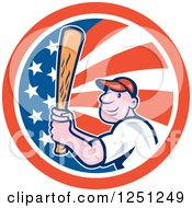 Clipart Of A Cartoon Male Baseball Player Batting In An American Flag Circle Royalty Free Vector Illustration by patrimonio