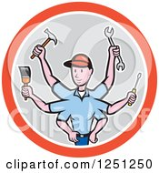 Cartoon Male Handman With Many Arms And Tools In A Circle