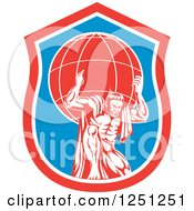 Clipart Of A Retro Muscular Man Atlas Carrying A Globe In A Blue And Red Shield Royalty Free Vector Illustration