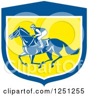Retro Jockey Racing A Horse In A Blue White And Yellow Shield