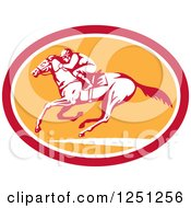 Clipart Of A Retro Jockey Racing A Horse In A Red White And Orange Oval Royalty Free Vector Illustration
