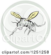 Cartoon Mosquito In A Circle
