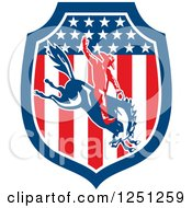 Clipart Of A Retro Rodeo Cowboy On A Bucking Horse In An American Flag Shield Royalty Free Vector Illustration