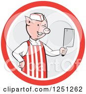 Clipart Of A Cartoon Pig Butcher Holding A Cleaver Knife In A Gray And Red Circle Royalty Free Vector Illustration by patrimonio