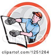 Clipart Of A Cartoon Male Glass Windshield Installer In A Circle Royalty Free Vector Illustration by patrimonio