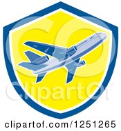 Clipart Of A Retro Commercial Airliner In A Blue And Yellow Shield Royalty Free Vector Illustration