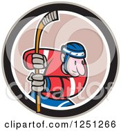 Clipart Of A Cartoon Male Hockey Player With A Stick In A Circle Royalty Free Vector Illustration by patrimonio