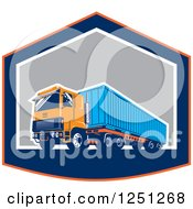 Clipart Of A Retro Truck Hauling A Container In A Shield Royalty Free Vector Illustration by patrimonio