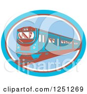 Clipart Of A Retro Blue And Brown Train In An Oval Royalty Free Vector Illustration by patrimonio