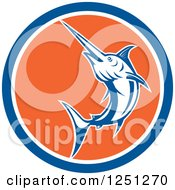 Clipart Of A Retro Jumping Swordfish In A Blue White And Orange Circle Royalty Free Vector Illustration by patrimonio