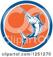 Retro Jumping Swordfish In A Blue White And Orange Circle