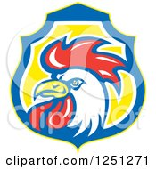 Clipart Of A White And Red Rooster In A Blue And Yellow Shield Royalty Free Vector Illustration