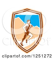 Retro Male Marathon Runner With Mountains In A Shield