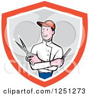Clipart Of A Cartoon Male Barber With Scissors And A Comb In A Shield Royalty Free Vector Illustration
