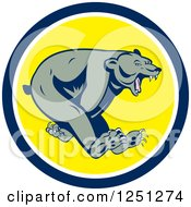 Clipart Of A Running Grizzly Bear In A Blue And Yellow Circle Royalty Free Vector Illustration