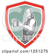 Clipart Of Benjamin Franklin With Beer In A Shield Royalty Free Vector Illustration