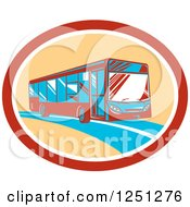 Clipart Of A Retro Coach Bus In A Tan And Red Oval Royalty Free Vector Illustration