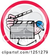 Clipart Of A Cartoon Male Director Holding Up A Clapperboard In A Circle Royalty Free Vector Illustration