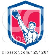 Clipart Of A Retro Male Bodybuilder Working Out With A Kettlebell In A Blue White And Pink Shield Royalty Free Vector Illustration by patrimonio