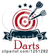 Clipart Of A Target With Throwing Darts And A Banner And Text Royalty Free Vector Illustration