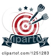 Clipart Of A Target With Throwing Darts And A Banner Royalty Free Vector Illustration