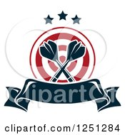 Clipart Of A Target With Crossed Throwing Darts And A Banner Royalty Free Vector Illustration