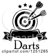Clipart Of A Black And White Target With Throwing Darts And A Banner Over Text Royalty Free Vector Illustration