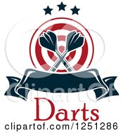 Clipart Of A Target With Crossed Throwing Darts Text And A Banner Royalty Free Vector Illustration
