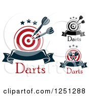 Clipart Of Targets With Throwing Darts And Banners Royalty Free Vector Illustration