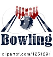 Clipart Of A Bowling Ball On An Alley With Pins And Text Royalty Free Vector Illustration