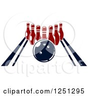 Clipart Of A Bowling Ball On An Alley With Pins Royalty Free Vector Illustration