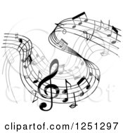 Clipart Of A Grayscale Flowing Music Notes Royalty Free Vector Illustration